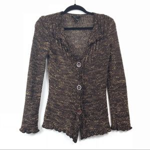BCBGMaxAzria Brown Button Cardigan M